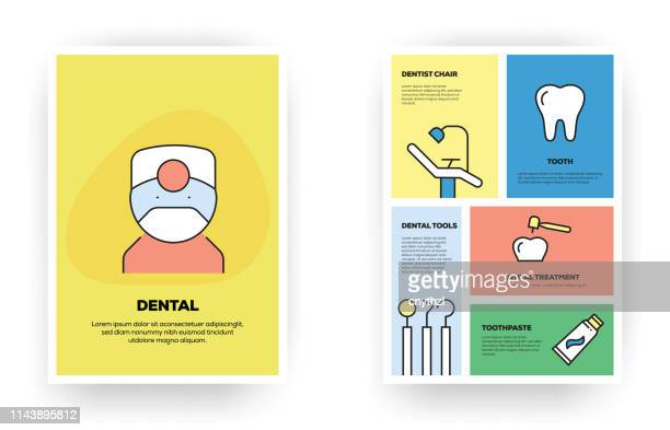 dental related line infographic - dental equipment stock illustrations