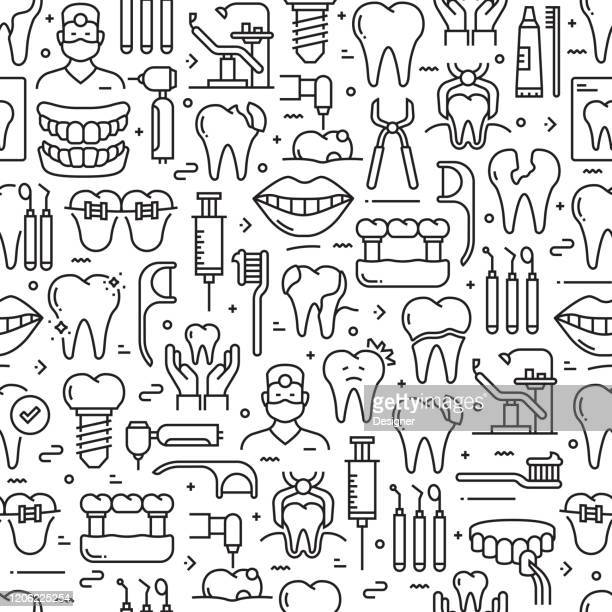 dental related seamless pattern and background with line icons - mouthwash stock illustrations