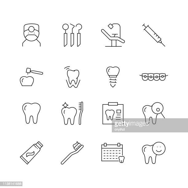 dental related - set of thin line vector icons - dental equipment stock illustrations