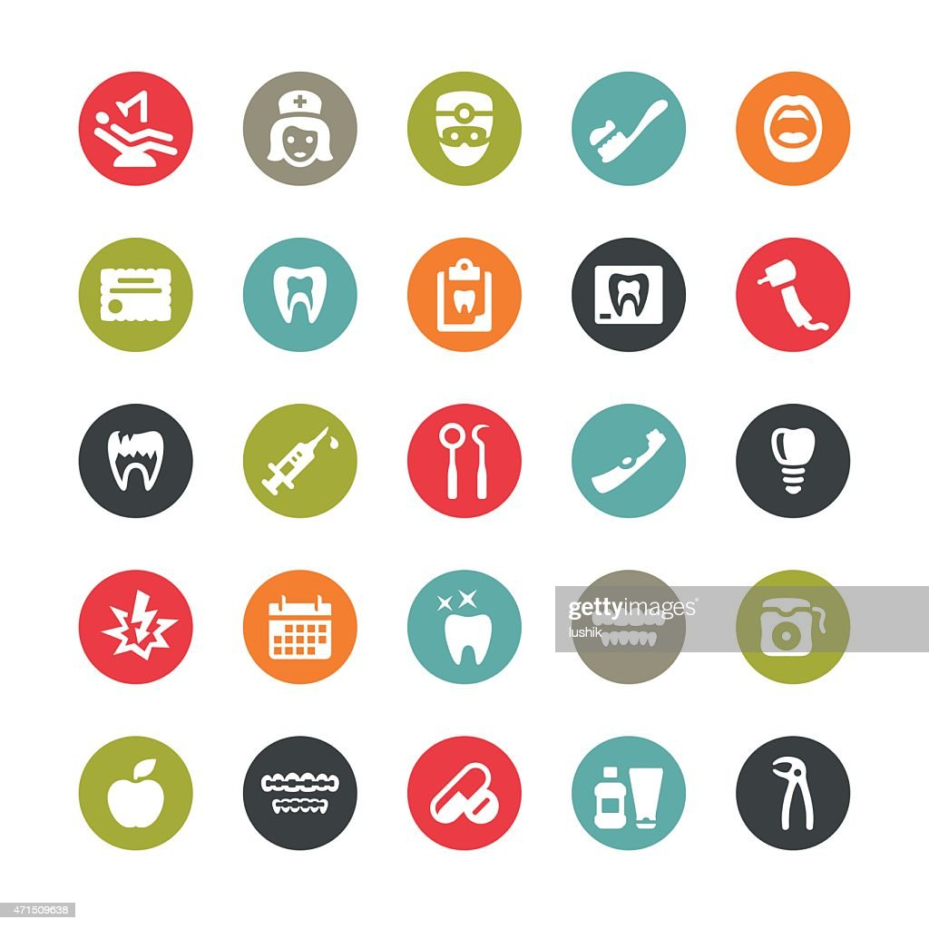 Dental related vector icons / Ringico series
