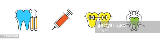 dental related vector line icons. outline symbol collection - mouthwash stock illustrations