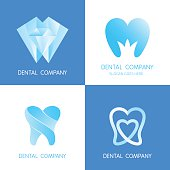Dental signs templates. Abstract vector teeth signs.