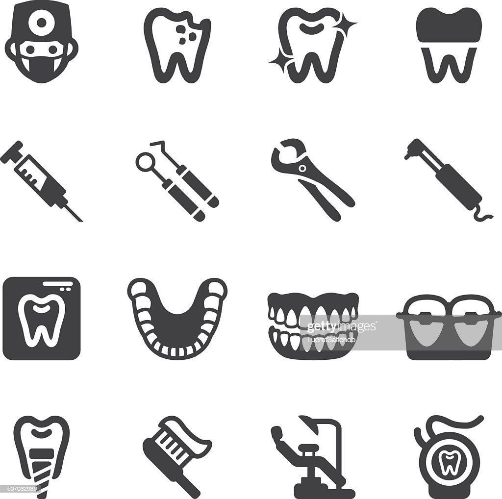 Dental Silhouette Icons   EPS10 : Stock Illustration