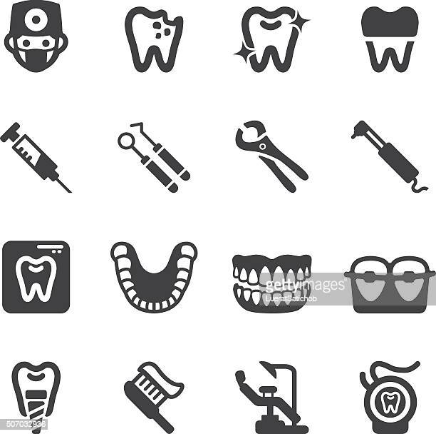 dental silhouette icons | eps10 - dental drill stock illustrations
