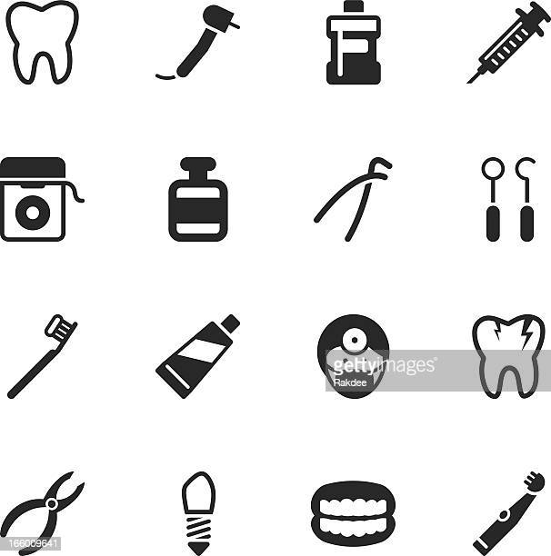 dental silhouette icons - dental drill stock illustrations
