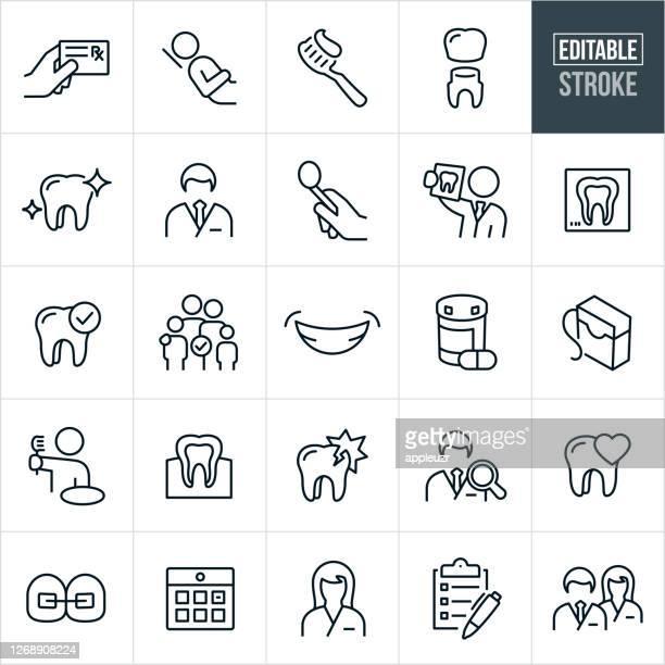 dental thin line icons - editable stroke - human teeth stock illustrations