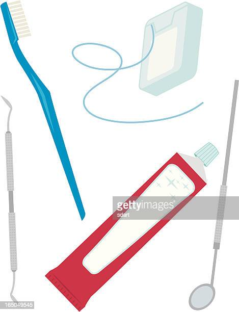dental tools - dental floss stock illustrations, clip art, cartoons, & icons
