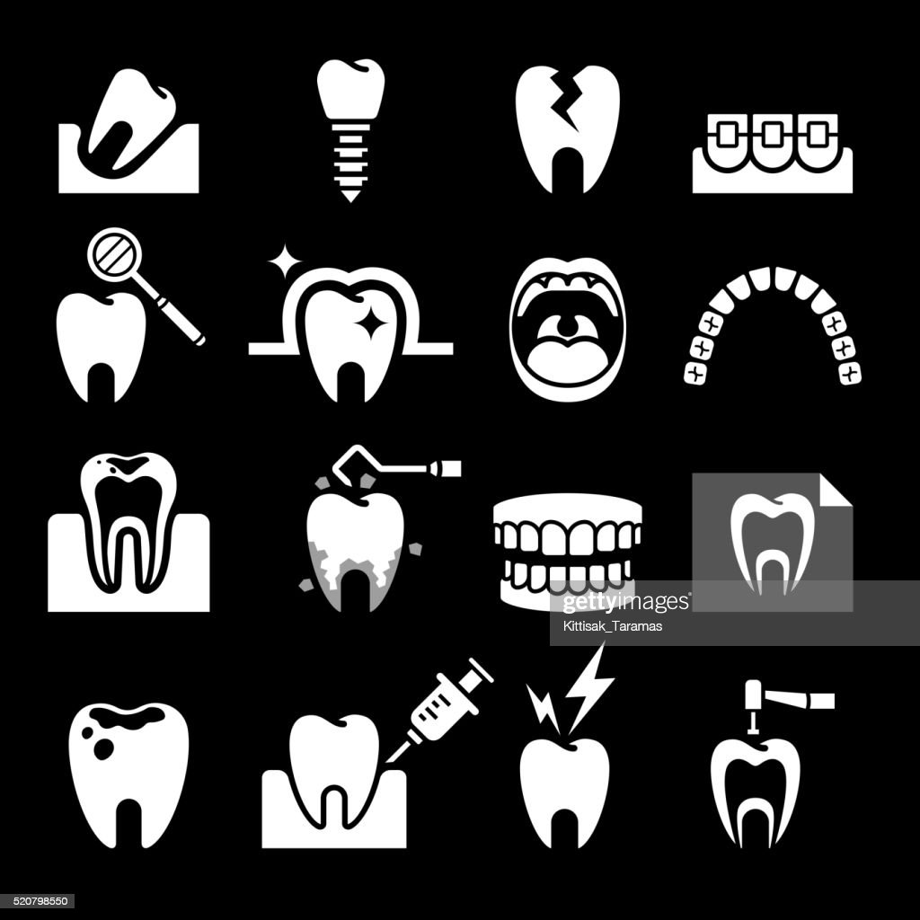 Dental tooth icons.