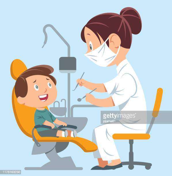 dentist and child - dentist stock illustrations