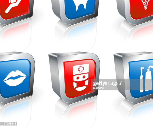 dentist and dental care 3d royalty free vector icon set - electric toothbrush stock illustrations