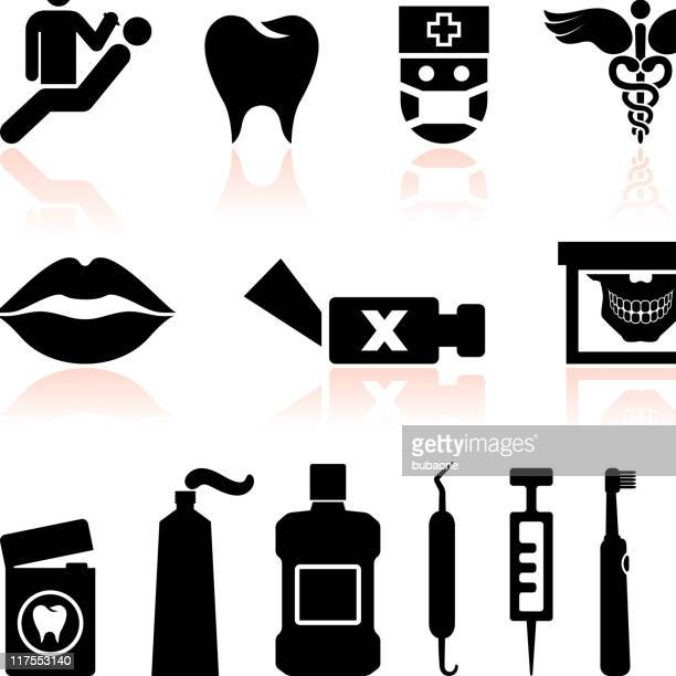 dentist and dental care black & white vector icon set - electric toothbrush stock illustrations
