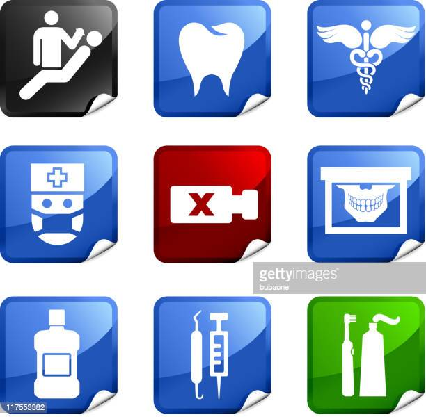 dentist and dental care nine royalty free vector icon set - electric toothbrush stock illustrations