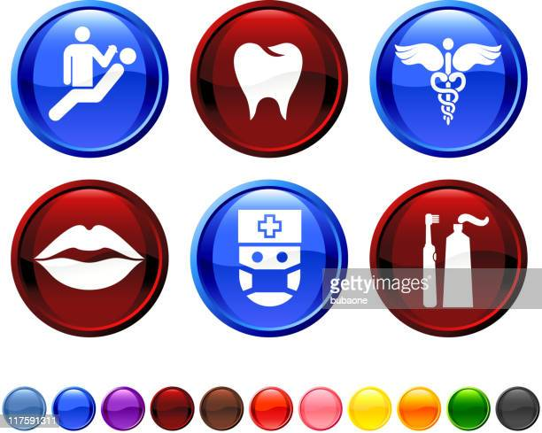 dentist and dental care royalty free vector icon set - electric toothbrush stock illustrations
