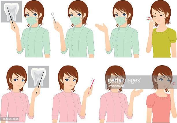 ilustraciones, imágenes clip art, dibujos animados e iconos de stock de dentista y paciente - dolor de muelas