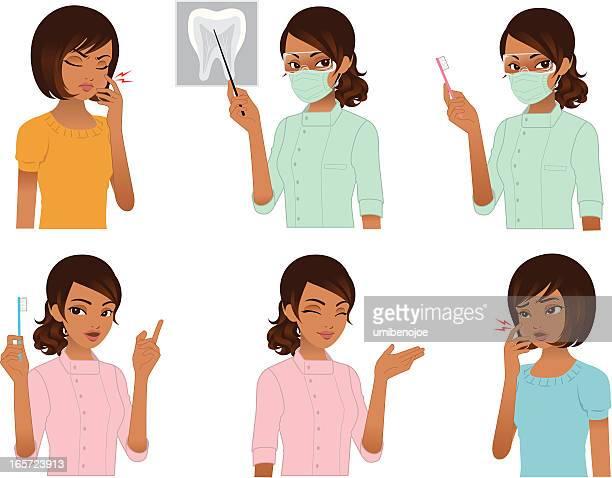 ilustraciones, imágenes clip art, dibujos animados e iconos de stock de dentista y paciente. - dolor de muelas