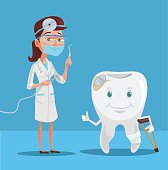 Dentist and tooth. Vector flat illustration