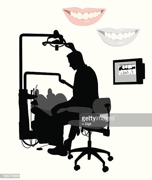 Dentist At Work Vector Silhouette