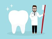 Dentist, doctor holding toothbrush with a big healthy tooth