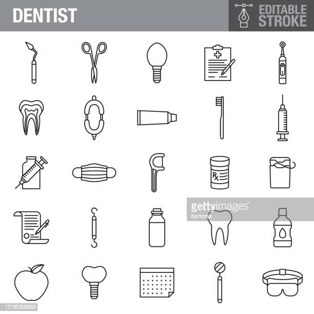 dentist editable stroke icon set - electric toothbrush stock illustrations