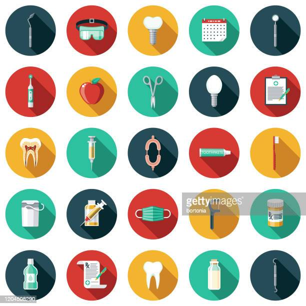 dentist icon set - electric toothbrush stock illustrations