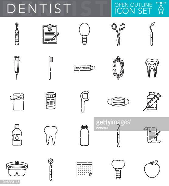 dentist open outline icon set - dental floss stock illustrations