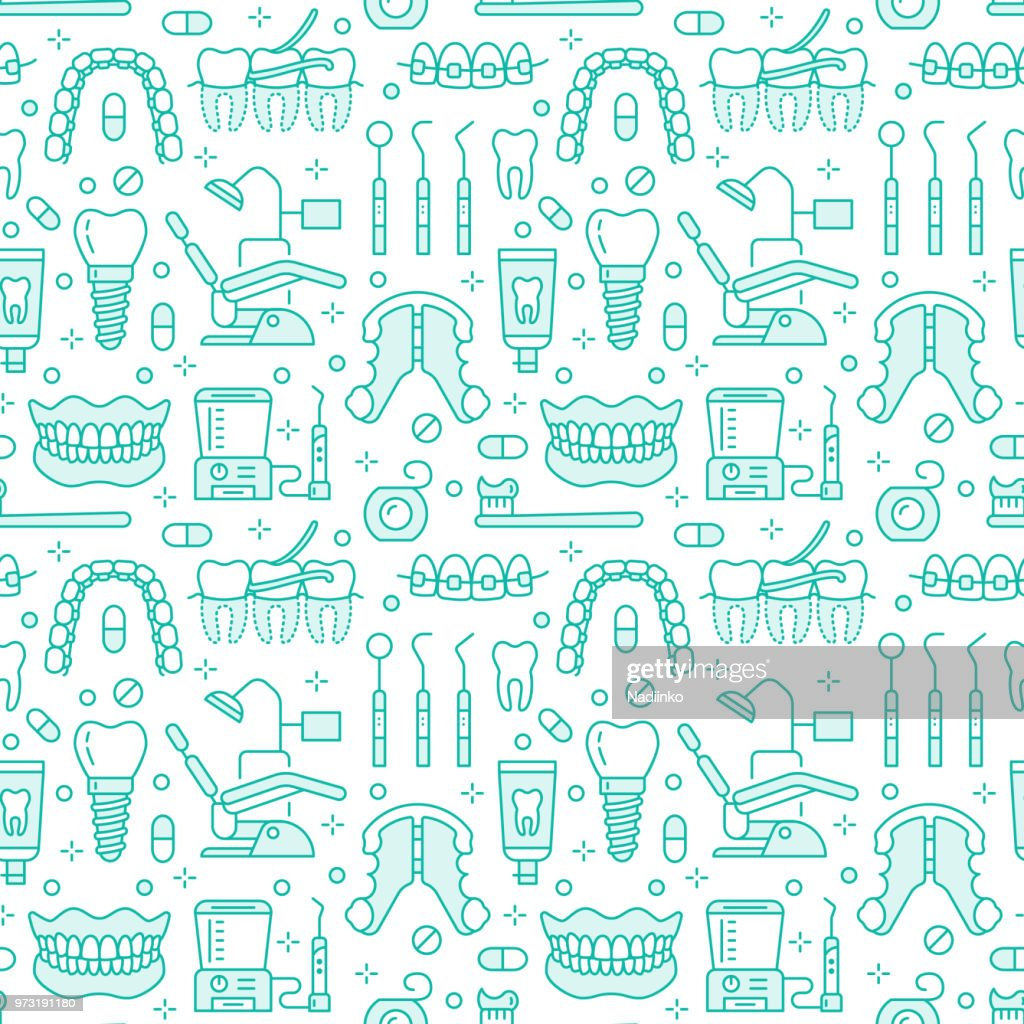 Dentist, orthodontics blue seamless pattern with line icons. Dental care, medical equipment, braces, tooth prosthesis, floss, caries treatment, toothpaste. Health care background for dentistry clinic