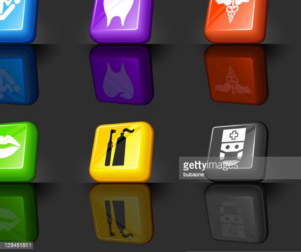 dentist related 3d icon set of various colors - electric toothbrush stock illustrations