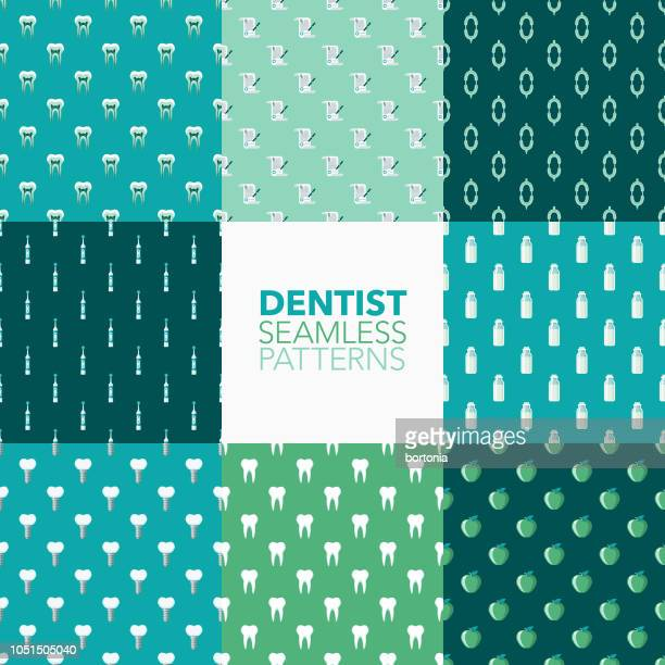 dentist seamless pattern set - electric toothbrush stock illustrations
