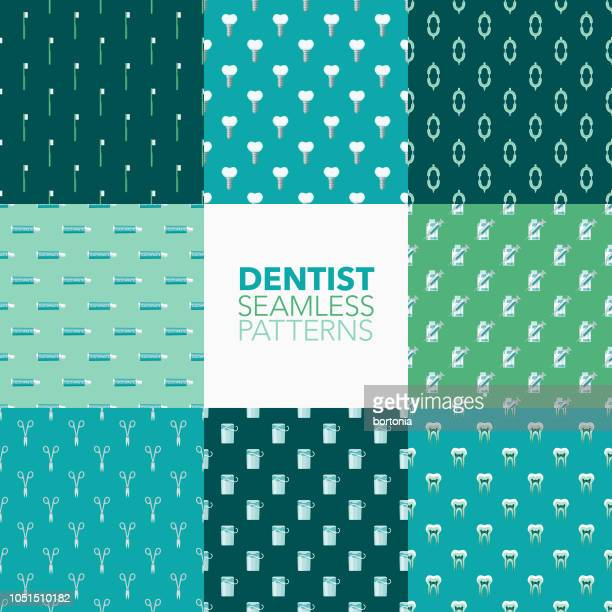 dentist seamless pattern set - dental equipment stock illustrations