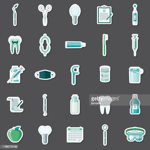 dentist sticker set - electric toothbrush stock illustrations