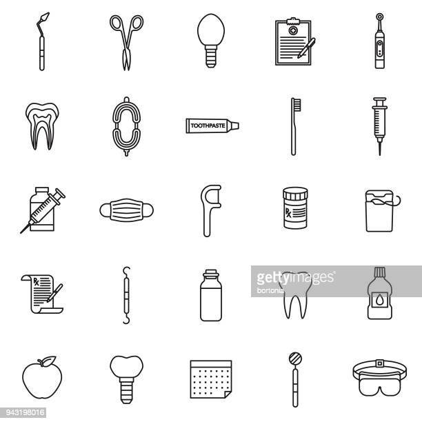 dentist thin line icon set - dental floss stock illustrations