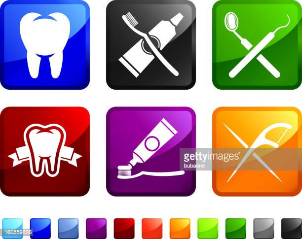 dentist tools for healthy teeth vector icon set stickers - dental floss stock illustrations, clip art, cartoons, & icons