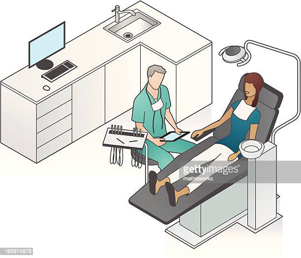 dentist with patient illustration - dentist stock illustrations
