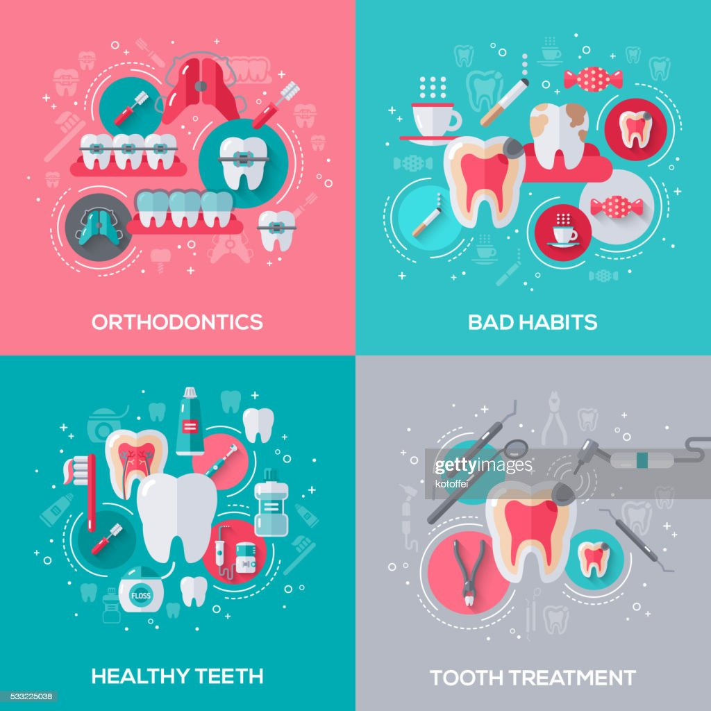 Dentistry Banners Set With Flat Icons.