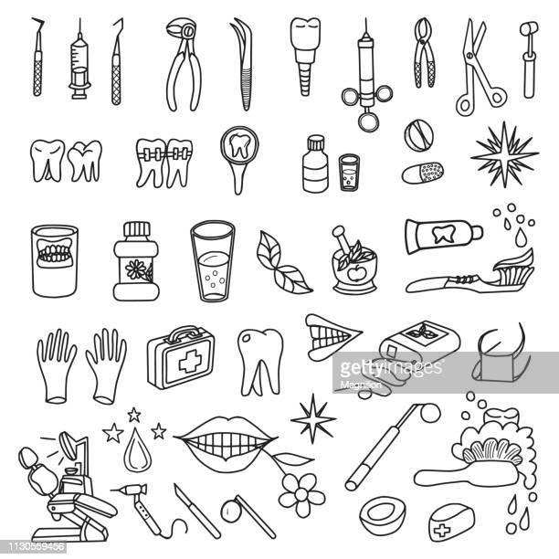 dentistry doodles set - mouthwash stock illustrations