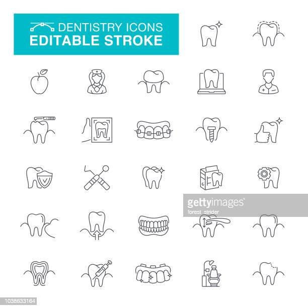 dentistry icons editable stroke icons - dental drill stock illustrations