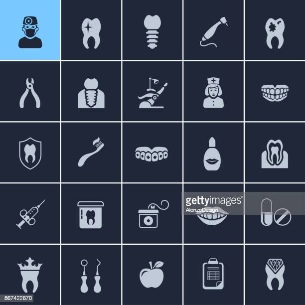 dentistry icons - dental drill stock illustrations