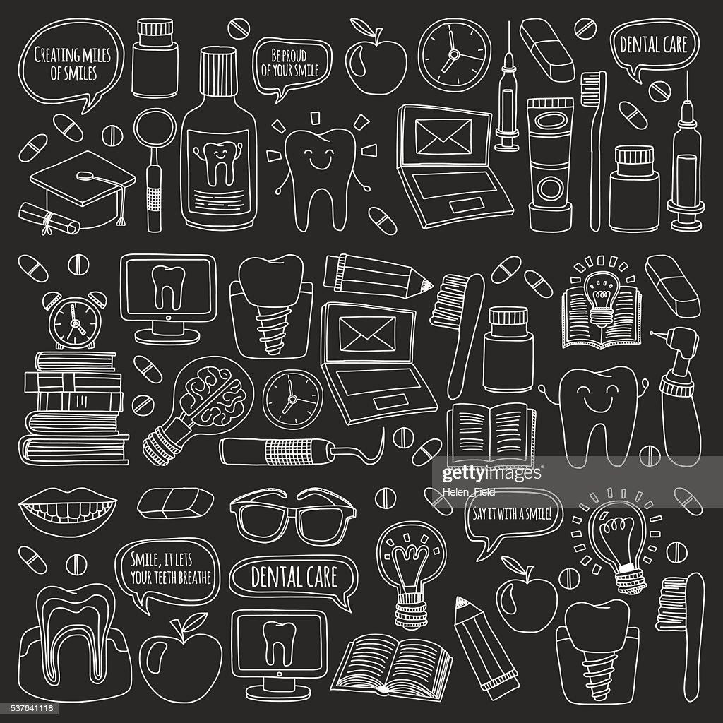 Dentistry Vector doodle set of icons Children dental care