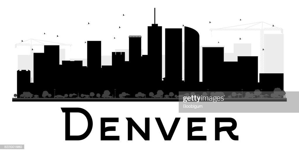 Denver City skyline black and white silhouette.