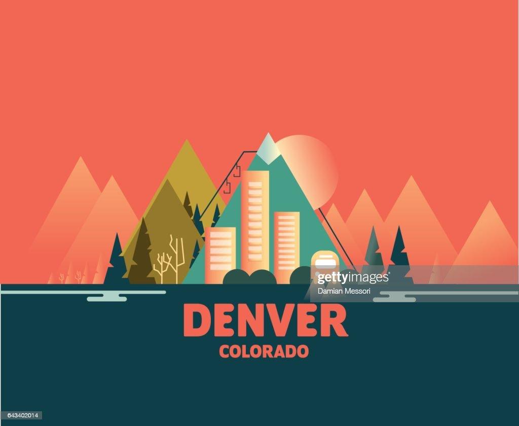 Denver Skyline - Iconic Illustrations of Cities