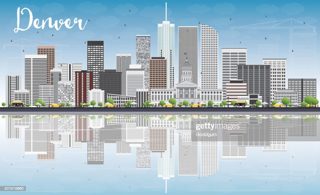 Denver Skyline with Gray Buildings, Blue Sky and Reflections.