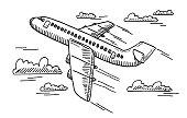 Departing Airplane Drawing