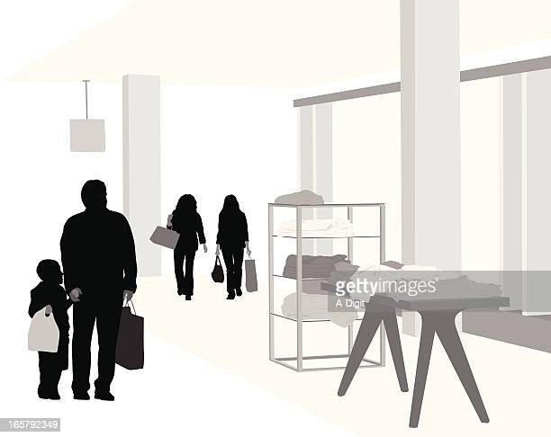 department store vector silhouette - retail display stock illustrations, clip art, cartoons, & icons