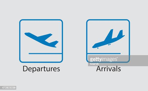 departures and arrivals symbol - aeroplane stock illustrations, clip art, cartoons, & icons