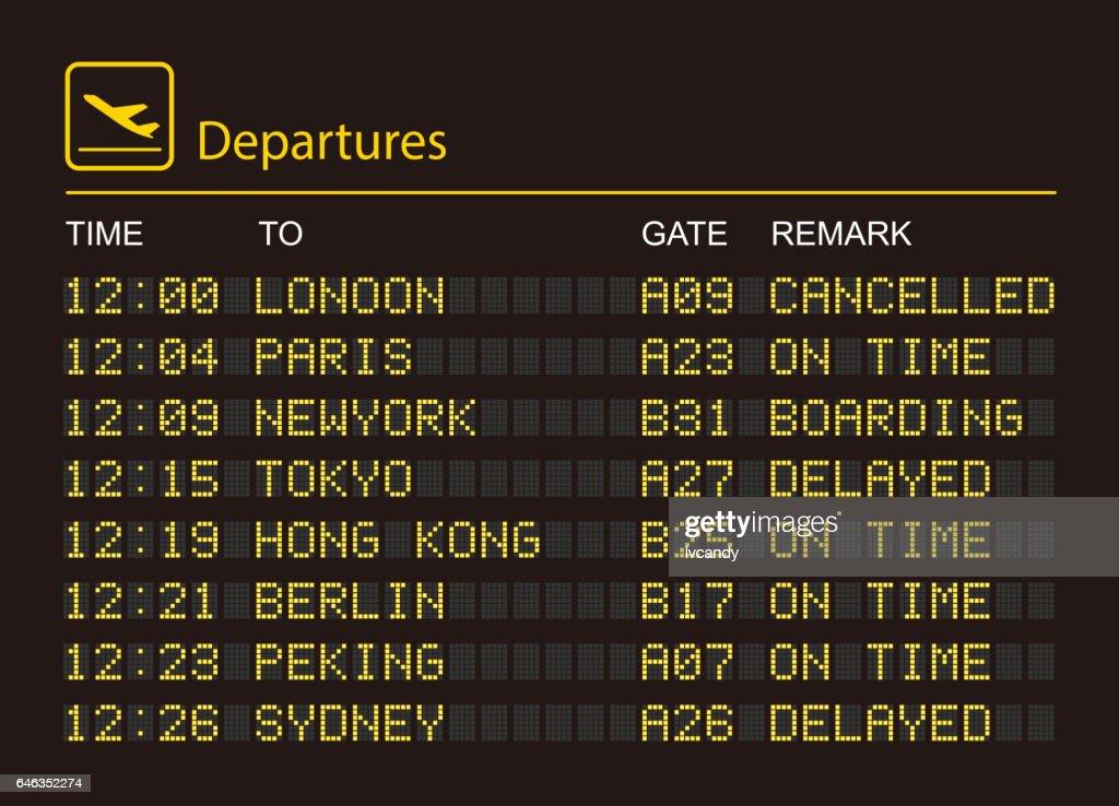 Departures information board : Illustrazione stock