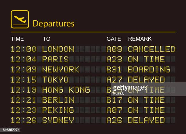 departures information board - sign stock illustrations, clip art, cartoons, & icons