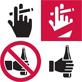 Depiction of no smoking and no drinking signs