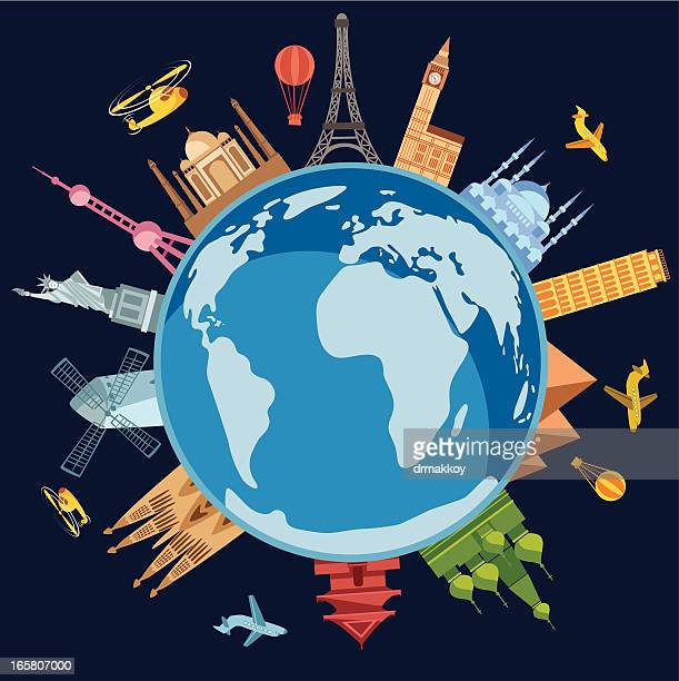depiction of the world with countries sticking out - famous place stock illustrations