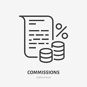 Deposit interest flat line icon, credit, loan commission. Thin linear logo for financial services, cashback payment, tax fee, invoice with money and percent sign vector illustration