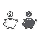 Deposit line and glyph icon, finance and banking, piggy bank sign, vector graphics, a linear pattern on a white background, eps 10.